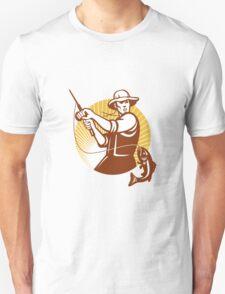 Fly Fisherman Fishing Retro Woodcut T-Shirt