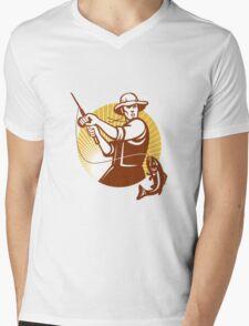 Fly Fisherman Fishing Retro Woodcut Mens V-Neck T-Shirt