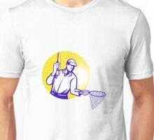 Fly Fisherman Fishing Net Retro Woodcut Unisex T-Shirt