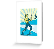 Fly Fisherman Fishing Retro Woodcut Greeting Card