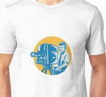 Film  Crew TV Cameraman With Movie Camera Retro Unisex T-Shirt