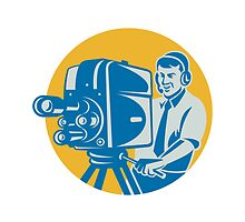 Film  Crew TV Cameraman With Movie Camera Retro by patrimonio