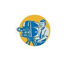Film  Crew TV Cameraman With Movie Camera Retro Photographic Print