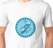 Container Ship With Anchor Stars Retro Unisex T-Shirt
