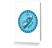 Container Ship With Anchor Stars Retro Greeting Card