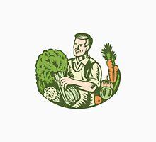 Organic Farmer Green Grocer With Vegetables Retro Unisex T-Shirt