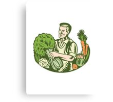 Organic Farmer Green Grocer With Vegetables Retro Canvas Print