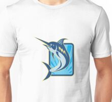Blue Marlin Jumping Retro Unisex T-Shirt