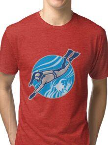 Scuba Diver Diving Retro Tri-blend T-Shirt