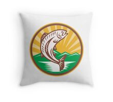 Trout Jumping Up Retro Woodcut Throw Pillow