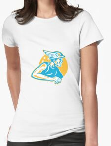 Mercury Side Retro Woodcut  Womens Fitted T-Shirt