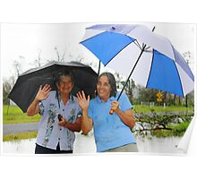 Out with the umbrellas after Cyclone Yassi Poster