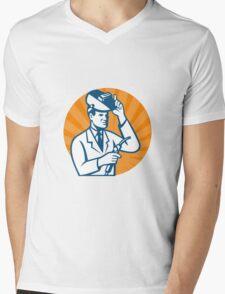 Scientist with Welder and Visor Mens V-Neck T-Shirt