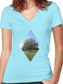 lone tree in autumn Women's Fitted V-Neck T-Shirt