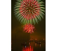 Fireworks with Reflection Photographic Print