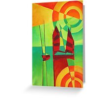Chinese Junks On Still Waters Greeting Card