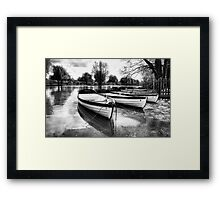 Shakespeare's boats at Stratford upon Avon in monochrome Framed Print