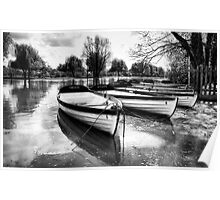 Shakespeare's boats at Stratford upon Avon in monochrome Poster