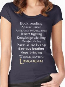 Librarian white text Women's Fitted Scoop T-Shirt