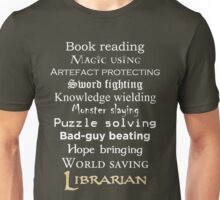 Librarian white text Unisex T-Shirt