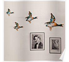 Flying Ducks on Granddad's Wall Poster