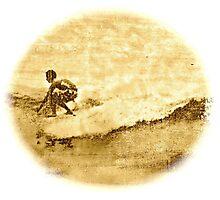 Sepia Surfer Photographic Print