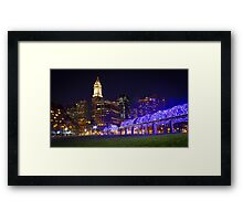 Christopher Columbus Park, Boston, Night Framed Print