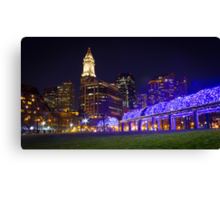 Christopher Columbus Park, Boston, Night Canvas Print