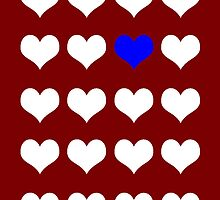 Red, White and Blue LoveHearts iPhone Case by giraffoarts