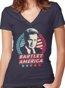 Bartlet for America  Women's Fitted V-Neck T-Shirt