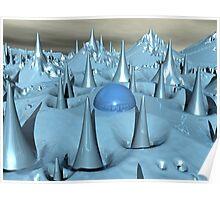 Blue Spikes Alien Terrain Poster