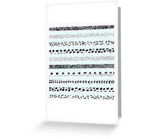 Chic hand drawn black white dots teal stripes Greeting Card
