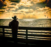Fishing On A California Pier by Chris Lord