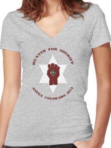 Hunter For Sheriff Women's Fitted V-Neck T-Shirt