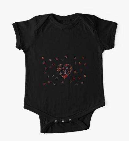 Red and black heart One Piece - Short Sleeve