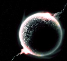 Planet with space dust surrounding it by voden