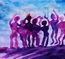 Cheering on the team, watercolor by Anna  Lewis