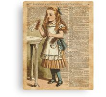 "Alice in The Wonderland ""Drink Me"" Colour Vintage Illustration Dictionary Art  Canvas Print"
