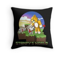 Mr Stampy cat and dogs at sunset Throw Pillow