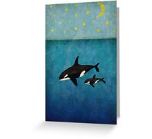 Whales at night Greeting Card