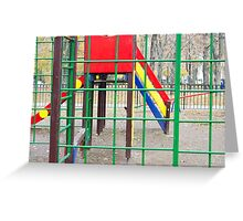 Empty playground in the park with autumn trees Greeting Card