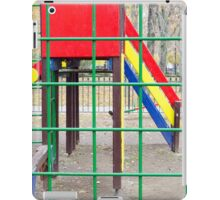 Empty playground in the park with autumn trees iPad Case/Skin