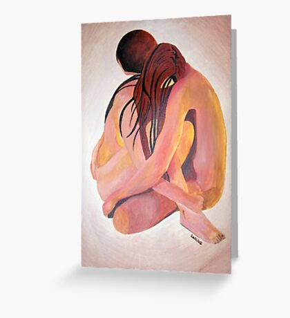 Intimate Couple Hugging and Staying In Touch  Greeting Card