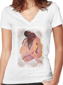 Intimate Couple Hugging and Staying In Touch  Women's Fitted V-Neck T-Shirt