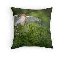 Cattle Egret in Cypress Swamp Throw Pillow