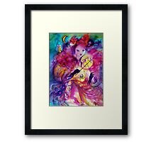 MASQUERADE NIGHT Carnival Musician in Pink Costume Framed Print