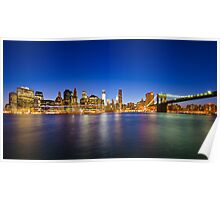 New York Manhattan Cityscapes at Night Poster