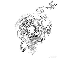 Hole in the Earth - Sketch Pen & Ink Illustration Photographic Print