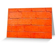 Red background of bricks with a layer of paint close-up Greeting Card