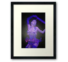 Female Strip Tease Artist Performing Blue Burlesque Framed Print